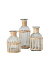 Glass Bottles with Bamboo Trim