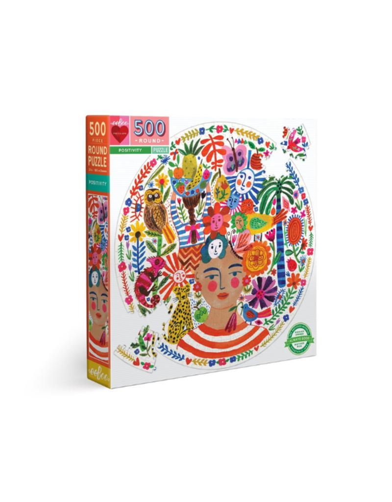 eeBoo Positivity 500 Piece Round Puzzle