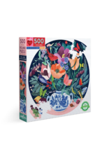 eeBoo Still Life With Flowers 500 Piece Round Puzzle