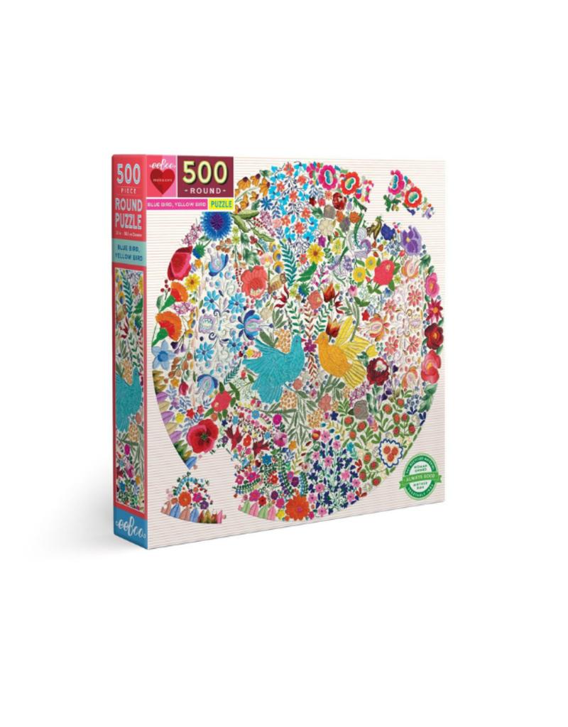 eeBoo Blue Bird Yellow Bird 500 Piece Round Puzzle