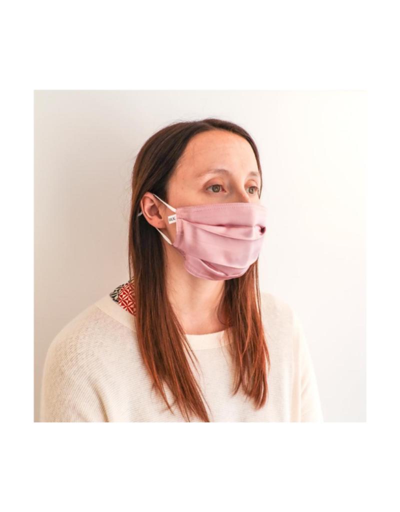 lemonwood Dusty Pink Silk Pleated Face Mask