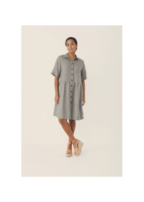 Part Two Hatla Linen Dress in Vetiver by Part Two