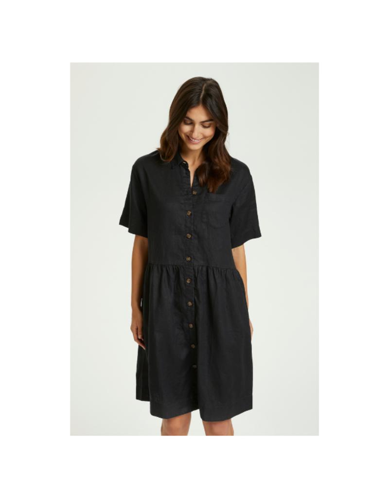 Part Two Hatla Linen Dress in Black by Part Two