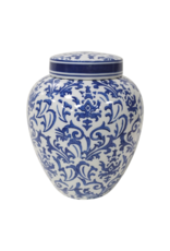 Eleanor Blue & White Vase with Lid