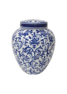 Eleanor Blue & White Vase with Lid