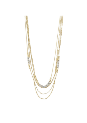 PILGRIM Sincerity Grey Necklace Gold-Plated by Pilgrim