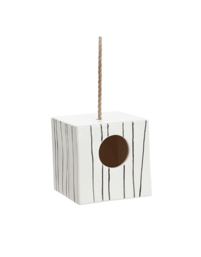 Ceramic Cube Birdhouse with Rope