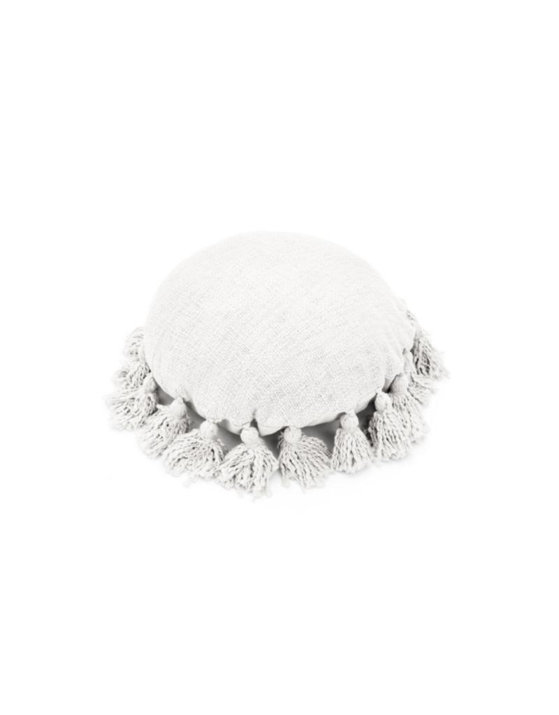 White Round Woven Pillow