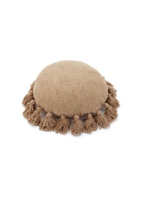 Tan Round Woven Pillow