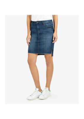 Kut from the Kloth Connie Hi-Low Skirt with Fray Hem in Affectionate Wash by Kut from the Kloth