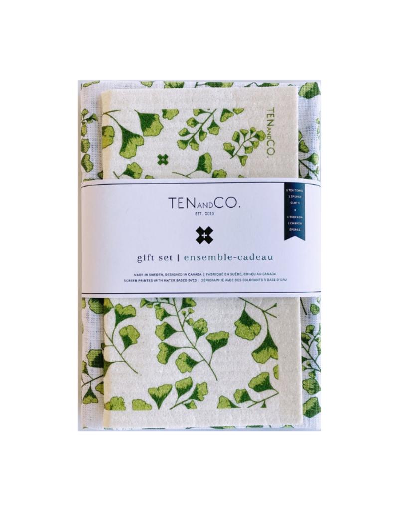 Ten & Co. Swedish Sponge & Towel Gift Set Fern