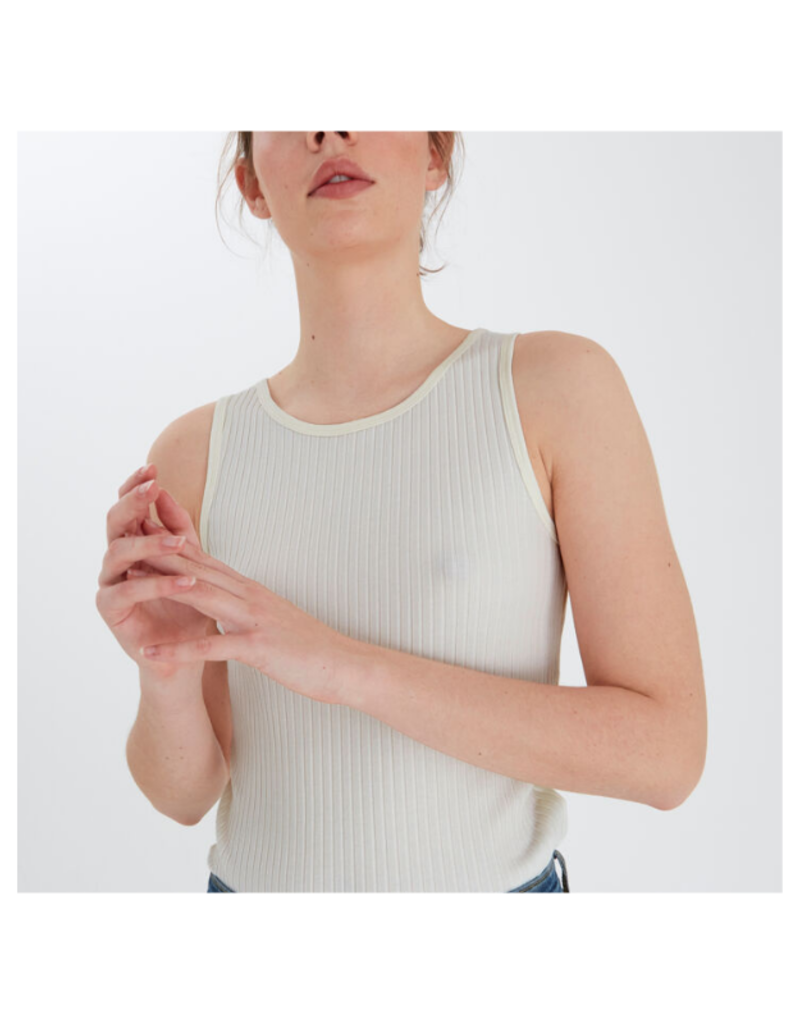 ICHI Silve Ribbed Sleeveless Top in Cloud Dancer by ICHI