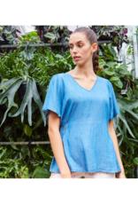 ICHI Lambrey Blouse in Medium Blue by ICHI