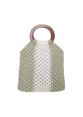 ICHI Jitza  Cotton Handbag in Swamp by ICHI
