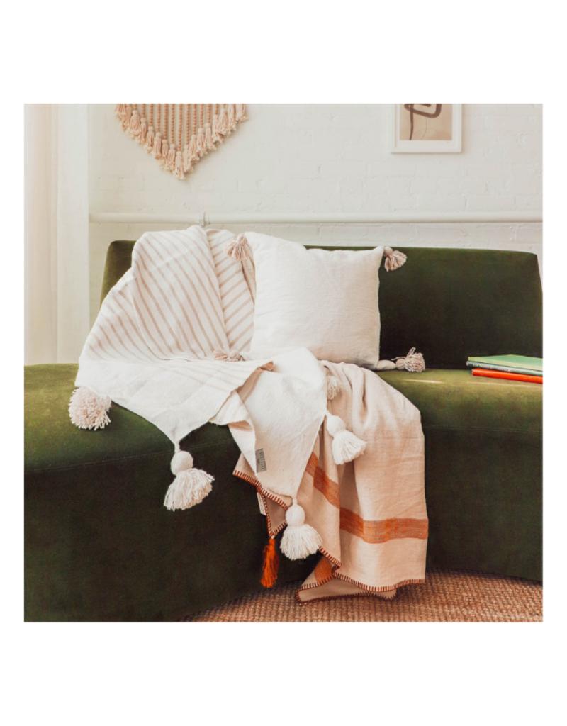 Moroccan Pom Pom Blanket in Beige Stripe