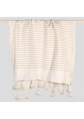 Moroccan Pom Pom Blanket Coco Striped