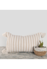 "Pokoloko Moroccan Pillow 12x20"" in Beige Stripe"