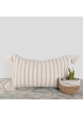 "Moroccan Pillow 12x20"" in Beige Stripe"