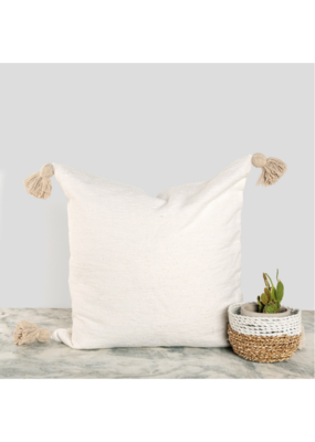 "Moroccan Pillow 20x20""  in Beige Pom"