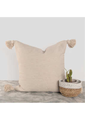 """Moroccan Pillow 18x18"""" in Solid Beige"""