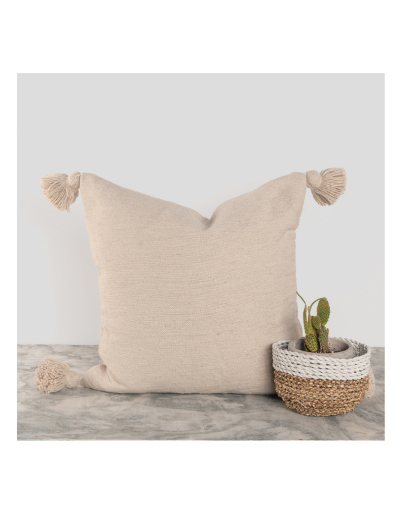 "Moroccan Pillow 18x18"" in Solid Beige"