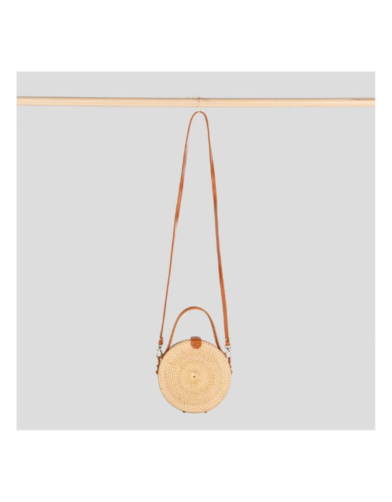 Round Bali Bag with Strap & Handle in Tan