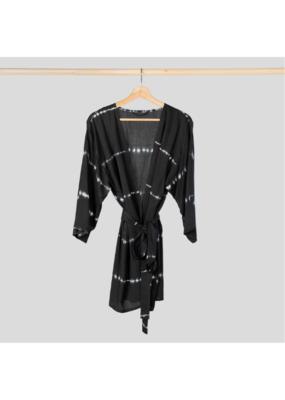 One Size Kimono Coverup in  Black Tie Dye