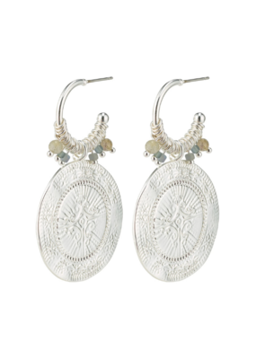 PILGRIM Nomad Grey Coin Earrings Silver-Plated by Pilgrim