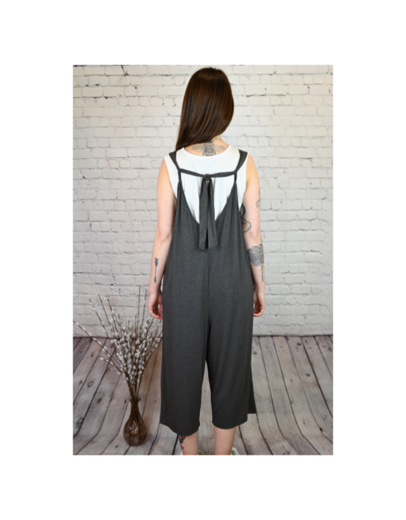 Saba & Co Jumpsuit with Tie in Charcoal by Saba & Co