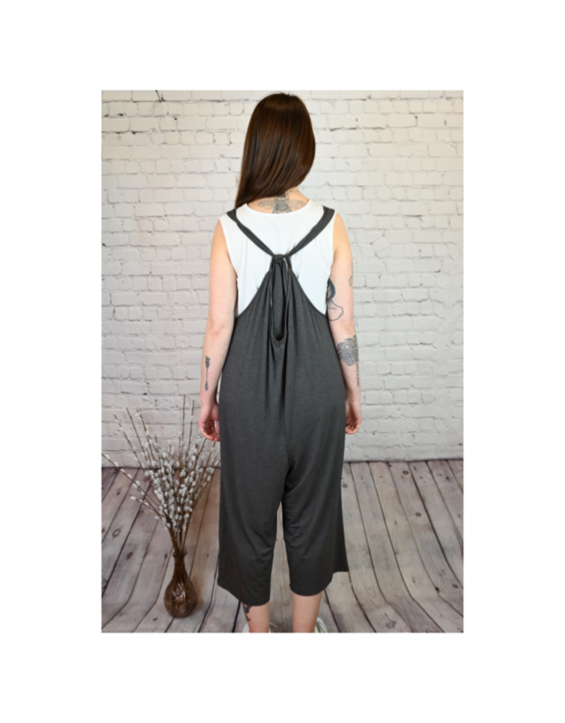 Jumpsuit with Tie in Charcoal by Saba & Co