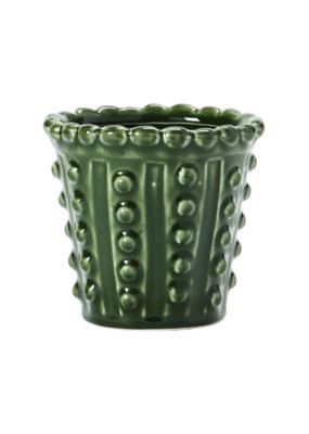 Hobnail Green Stoneware Planter