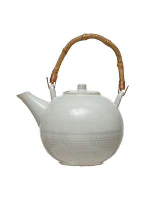 Stoneware White Teapot with Bamboo Handle