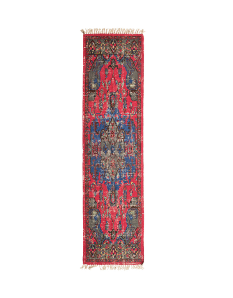 Red & Blue Woven Cotton Distressed Rug 2x8'
