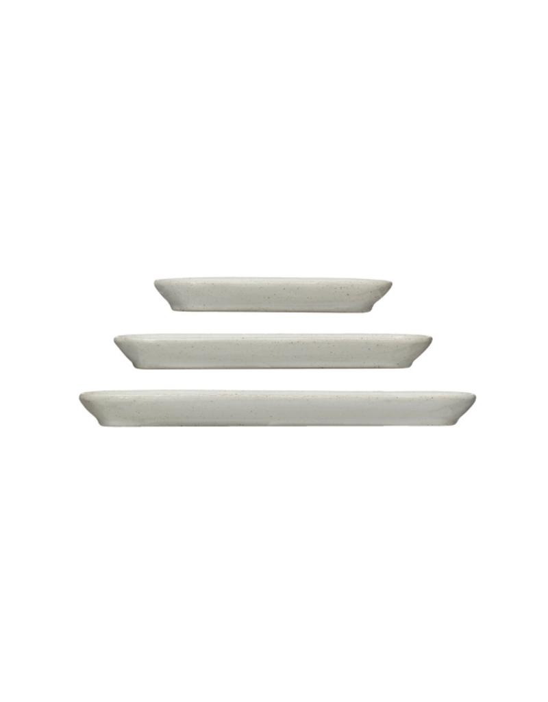 Stoneware White Oval Trays