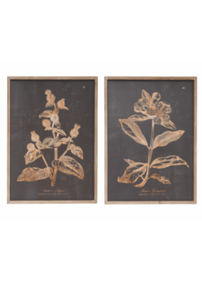 Botanical Wood Framed Print Charcoal
