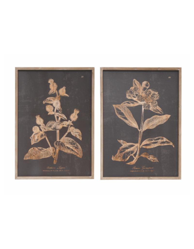 Botanical Wood Framed Print Charcoal