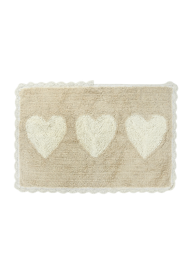 Tufted Hearts Tan & Cream Bath Mat