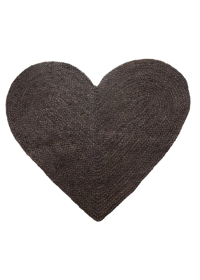 Jute & Cotton Black Heart Shaped Rug