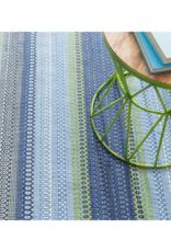 Dash & Albert Dash & Albert Fiesta Stripe Indoor/Outdoor Rug in French Blue Green