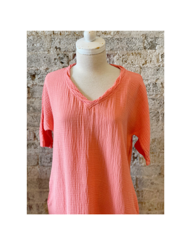 Elbow Sleeve Dress Coral by Mod-O-Doc