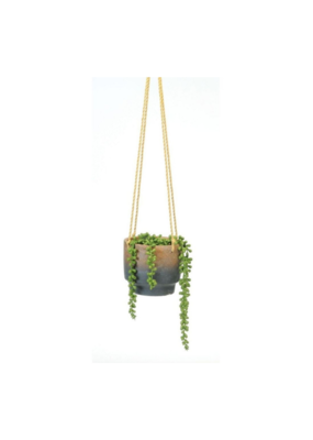 Hanging Pot in Natural with Blue Dipped Base