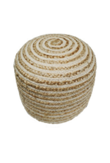 Jute & Cotton Braided Cylinder Pouf