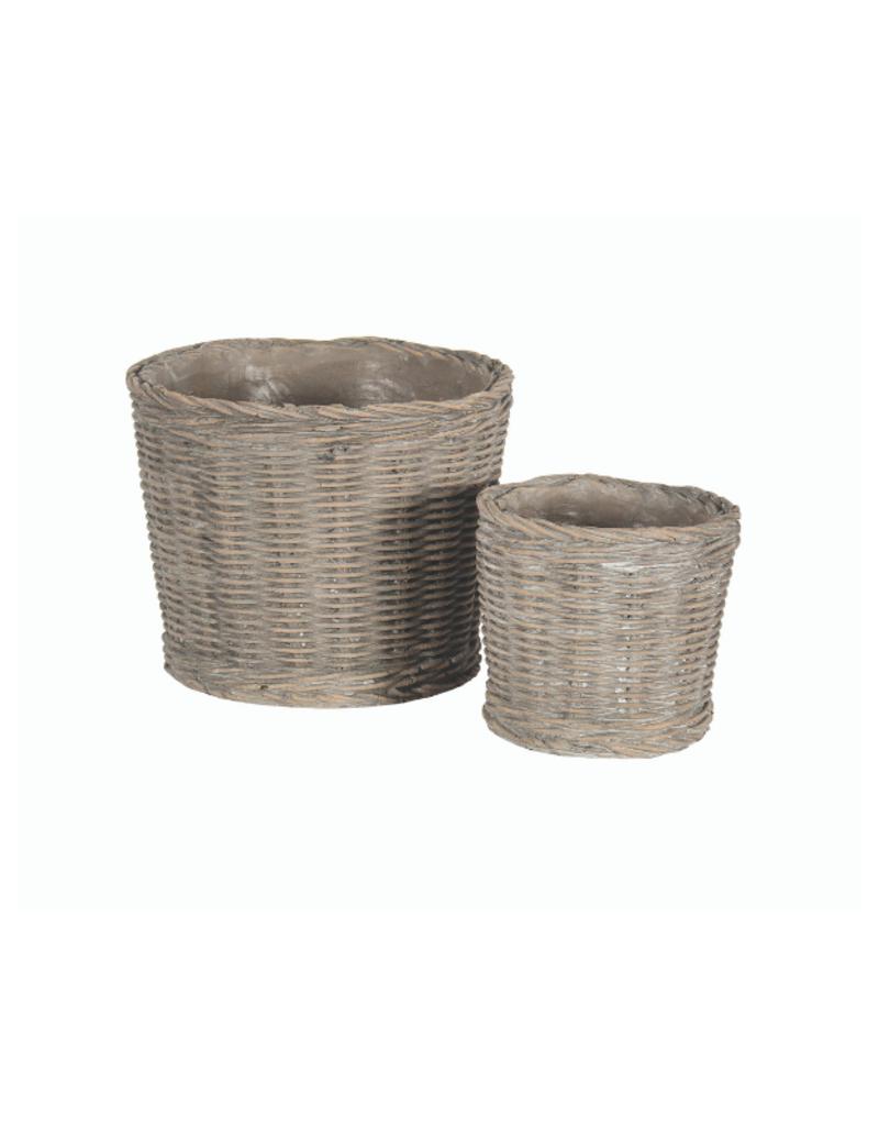 Brown Ceramic Basket Planter