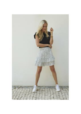 Ruffles Skirt in White & Black Dot Print by Esqualo