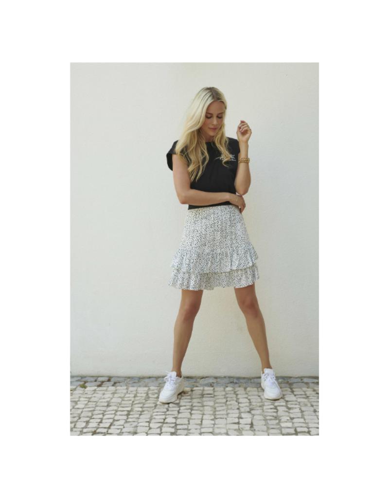 Ruffles Skirt in White & Black Dot Print by Esqualo