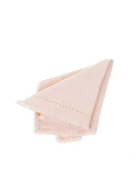Indaba Trading Set of 6 Frayed Edge Cloth Napkins Light Pink