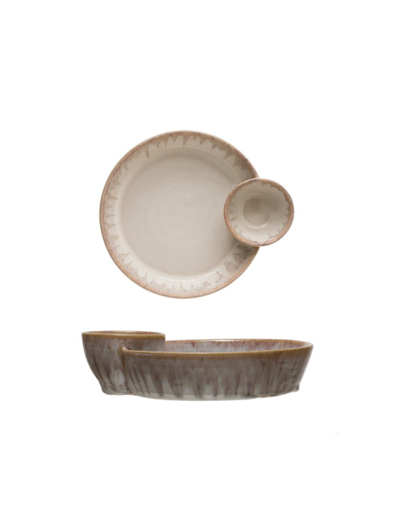 Bloomingville Cream Stoneware Serving Dish with Two Sections