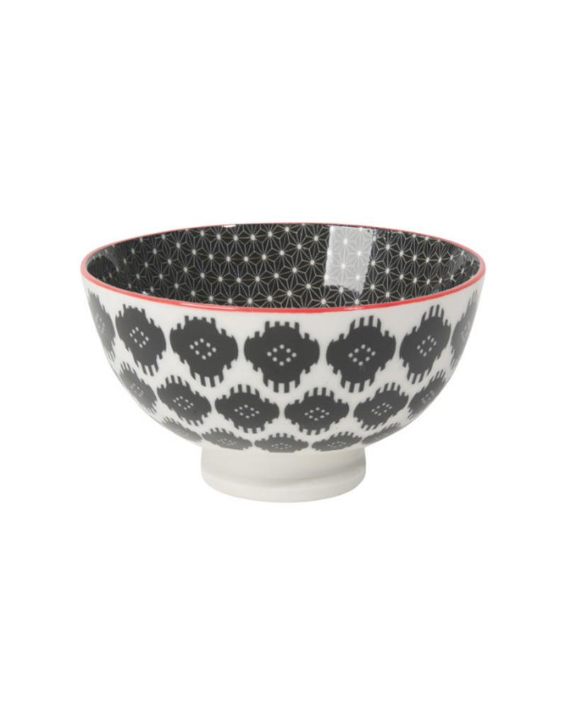 "4"" Stamped Bowl in Black Ikat"