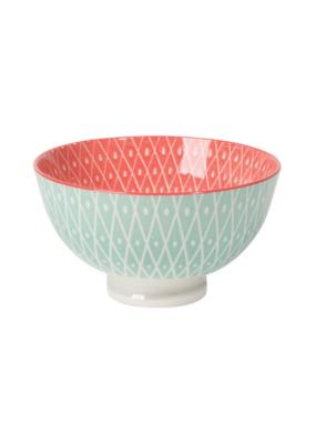 "4"" Bowl Stamped in Blue Geo & Pink"