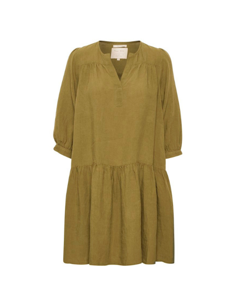 Part Two Chania Linen Dress in Olive by Part Two